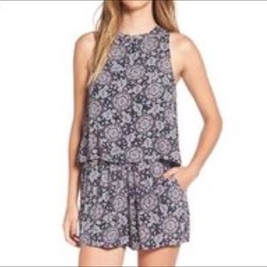 Nordstrom Paisley Pocket Romper Open Back Sexy S